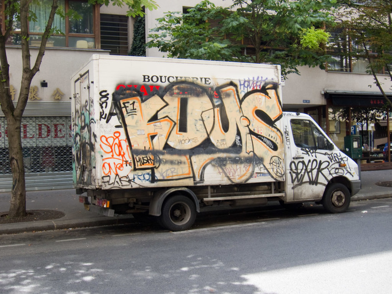 France-Paris-Graffiti - More and more I am noticing white vans covered in graffiti. The french love to cause social unrest, until they actually get invaded then they just giv