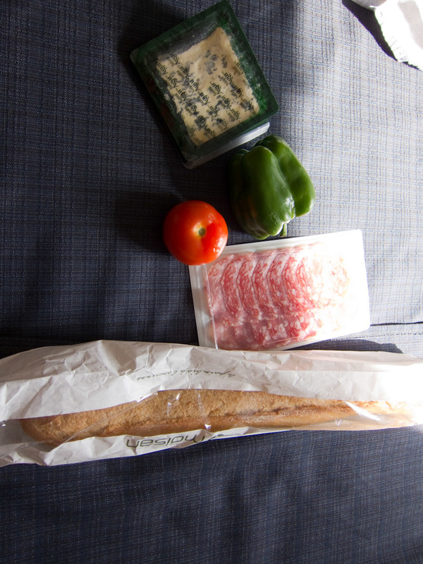 France-Paris-Graffiti - Heres the supplies I purchased to make a baugette for dinner, I love cheese.
