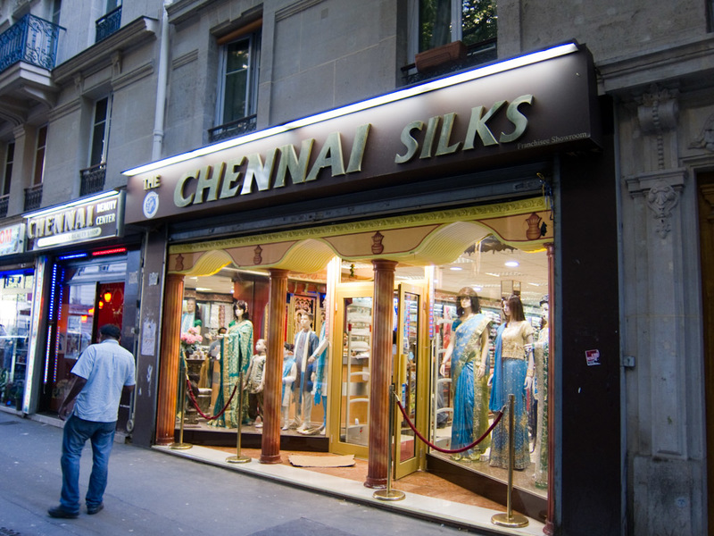 France-Paris-Little India - Chennai Silks. I bought a few shiny outfits for myself from here.