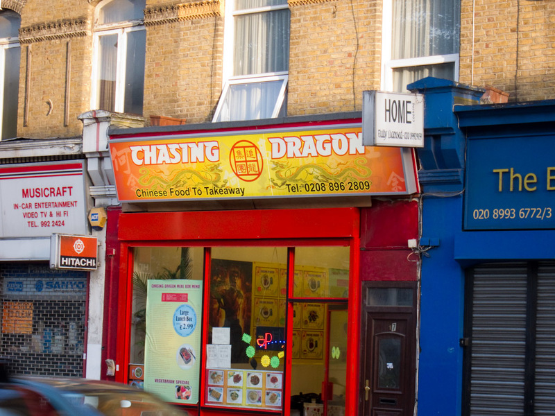 England-London - The name of this chinese take away is the most commonly used term for using heroin or opium. Enjoy your meal.