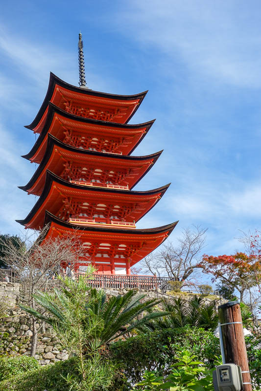 news - Onwards to Miyajima, and the sun had returned. Heres a red pagoda thingy.