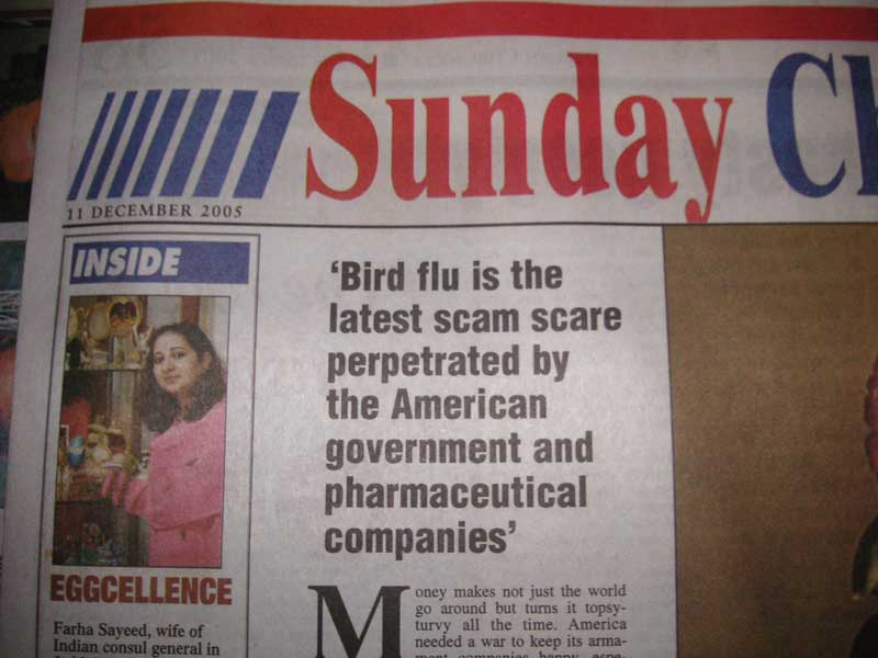 India-Chennai-Mall-Spencer Plaza - If you are too lazy to click, the headline reads, 'Bird flu is the latest scam perpetrated by the American government and pharmaceutical companies' an