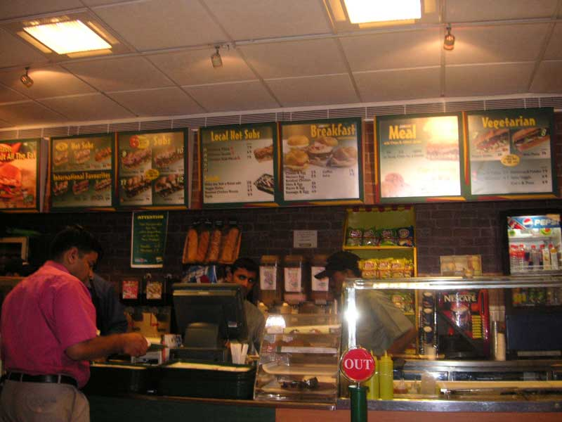 India-Chennai-Mall-Spencer Plaza - Lunch! yes, I had lunch at subway in India, my friends are keen for me to have 'non veg' as they call it, and the line is shorter here than pizza hut,