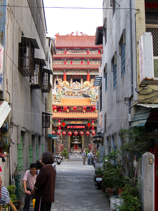 Taiwan-Kaohsiung-Pineapple Cake - You often find things down alleyways. This is the biggest temple I have seen, as far as I can tell this is the only entrance to get to it.