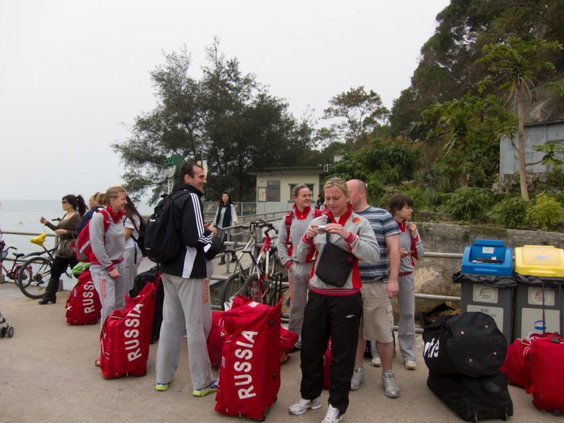 Hong Kong-Hiking-Ferry-Lamma Island - I believe this is the russian girls rugby 7's team. They have come to an island where the only activity is to go hiking, with all their baggage, 2 and
