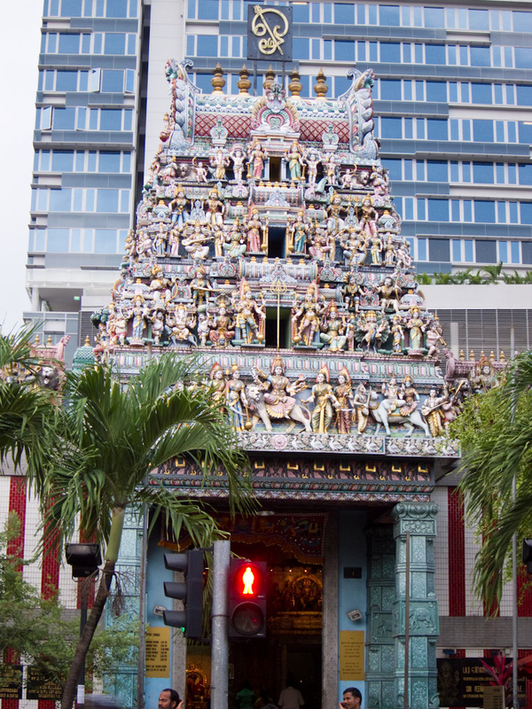 Singapore-Little India-Food - The temple is fairly impressive, very colorful.