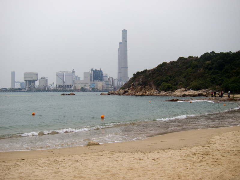 Hong Kong-Hiking-Ferry-Lamma Island - Heres one of the beaches, this one has a fetching view of a gigantic power plant.