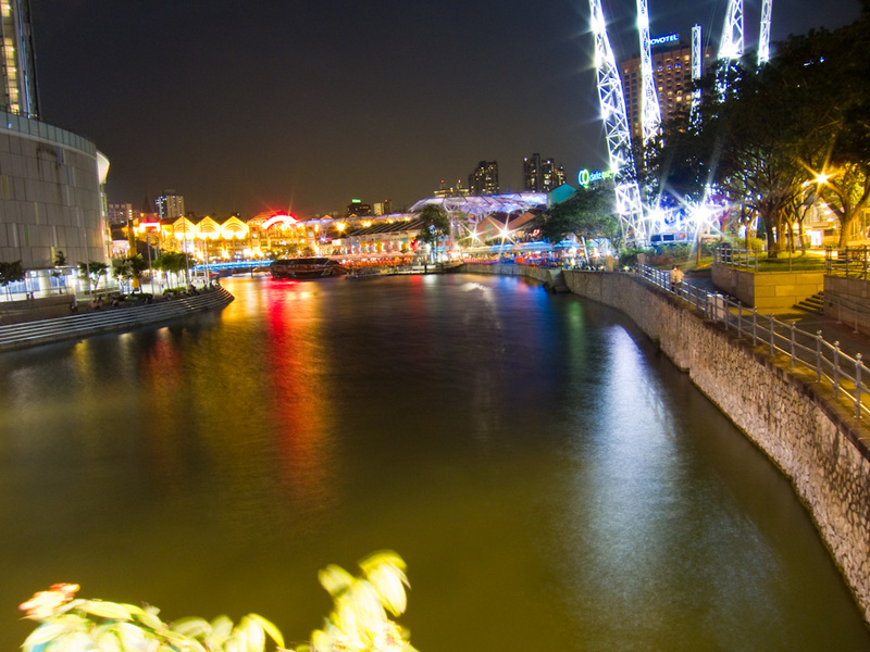 Singapore-Clarke Quay-Indian Food - Heres a photo of clarke quay I took whilst waiting on the bridge for my dinner guest.