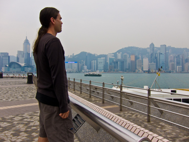 Hong Kong-Kowloon-Ice Skating - And heres me, enjoying the view. A cleaning lady was concerned I was putting my camera on a rubbish bin.