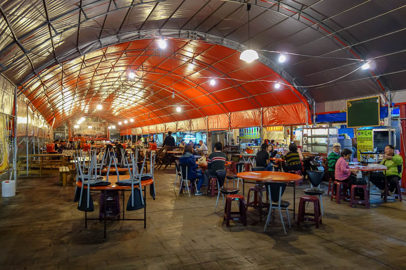 Taiwan-Hualien-Carnival - There were many such plastic bomb shelter food seating areas - a good idea, one of the reasons I dont like food trucks is there is never anywhere to s