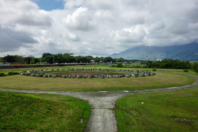 Taiwan-Hualien-Hiking-Rain-Zuocang - Then I found myself at stonehenge. Along here as far as the eye can see is baseball grounds / pitches / mounds / parks. I dont know what you call a pl