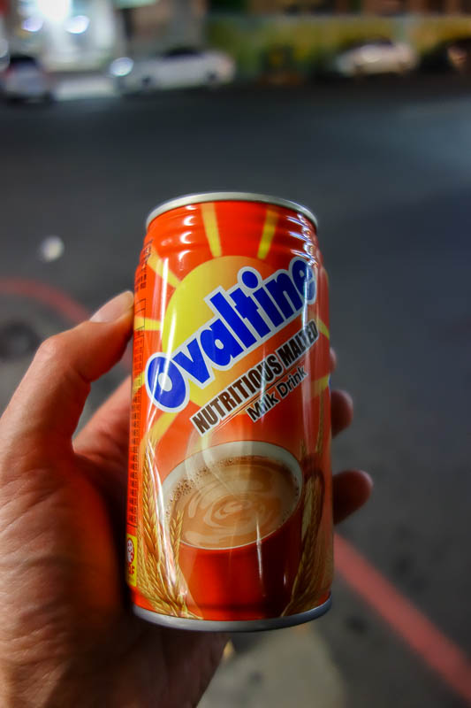 Taiwan-Taitung-Beach-Food-Beef - For dessert, hot ovaltine, in a can. They heat the cans up in the convenience store just like in Japan. You need both hands to drink this, its too hot