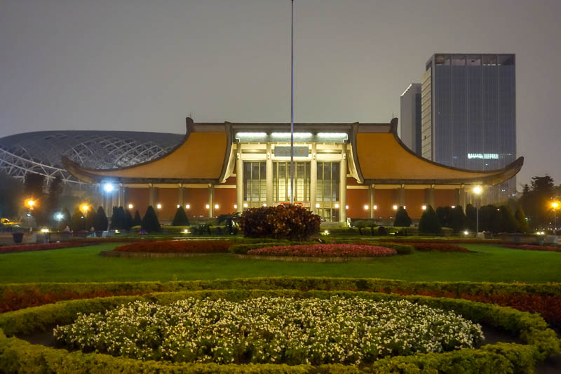 Taiwan-Taipei-Taipei 101-Food-Bibimbap - The Sun Yat-sen memorial museum, at night. I have been there in the day before. At night its darker.