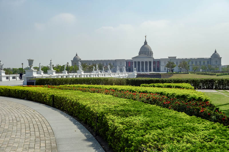 Taiwan-Tainan-Baoan-Chimei Museum - This is the actual front of the building, which is a huge structure, with even larger manicured grounds. There were lots of wedding photos being taken