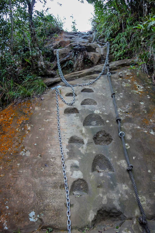 Taiwan-Shiding-Hiking-Huangdidian - In addition to ladders there was rope / chain ascents and descents with foot holes cut into the rock.