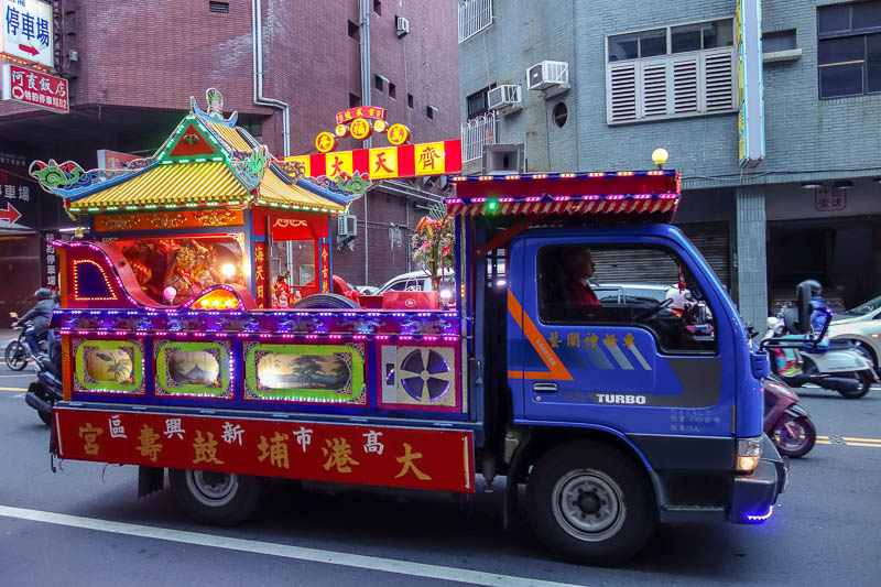 Taiwan-Tainan-Shopping Mall-Blueprint Culture - Part one of the parade. LED truck.