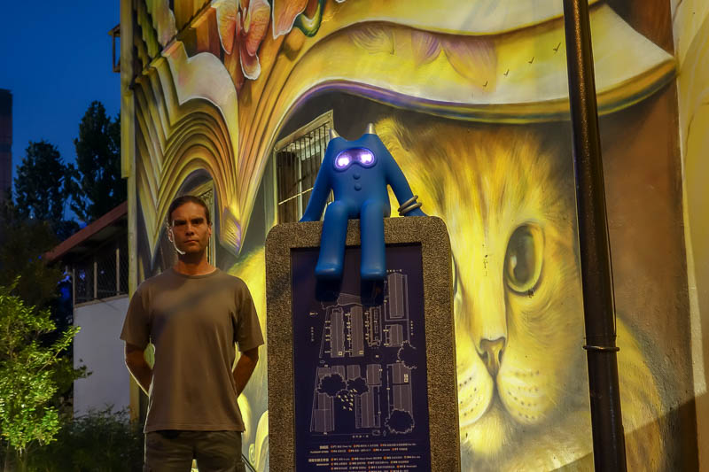 Taiwan-Tainan-Shopping Mall-Blueprint Culture - Me, my little blue friend, and a cat. It was all happening.