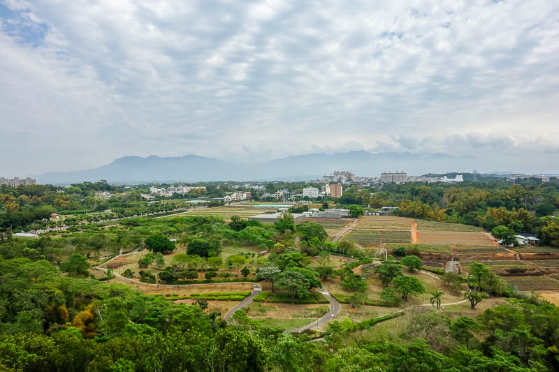 Taiwan-Chiayi-Sun Shooting Tower-Garden - The view from the top is open air, no glass!