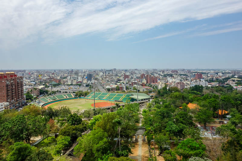 Taiwan-Chiayi-Sun Shooting Tower-Garden - The baseball stadium where the gold statue above did his best work.