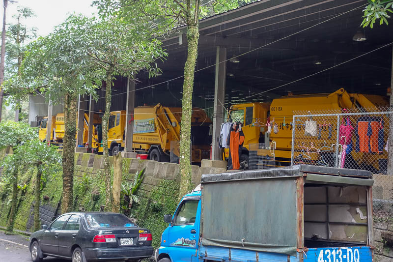 Taiwan-Shiding-Hiking-Huangdidian - I was so thrilled when I came across a strangely located rubbish truck depot and waste transfer station. Tax write off joke time.