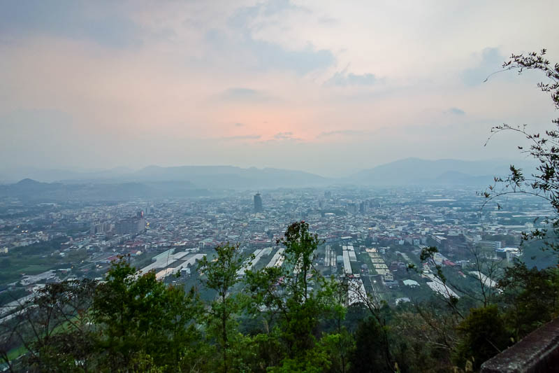 Taiwan-Puli-Hiking-Sunset - The whole of the city. A bit less orange at this point.