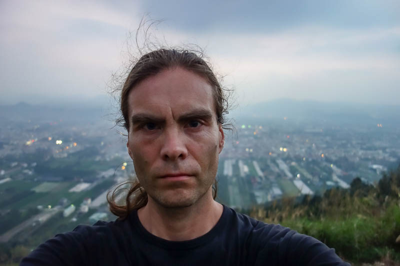 Taiwan-Puli-Hiking-Sunset - Heres the best I could do. Enjoy my sweaty head.