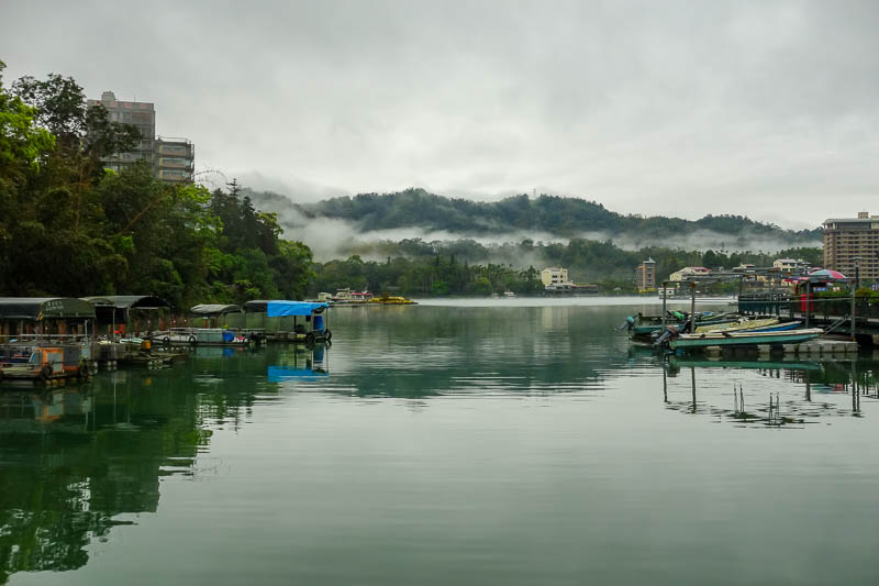 Taiwan-Sun Moon Lake-Rain - My first view of the lake. Nice still water for fog reflections.