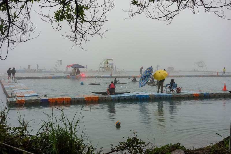 Taiwan-Sun Moon Lake-Rain - It then became really foggy. I heard all kinds of yelling and screaming ahead. I seriously though a boat had sunk. No, just a heap of people playing c