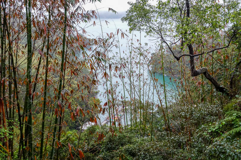 Taiwan-Sun Moon Lake-Rain - The fog cleared every now and then, and allowed for photos of blue water such as this one.