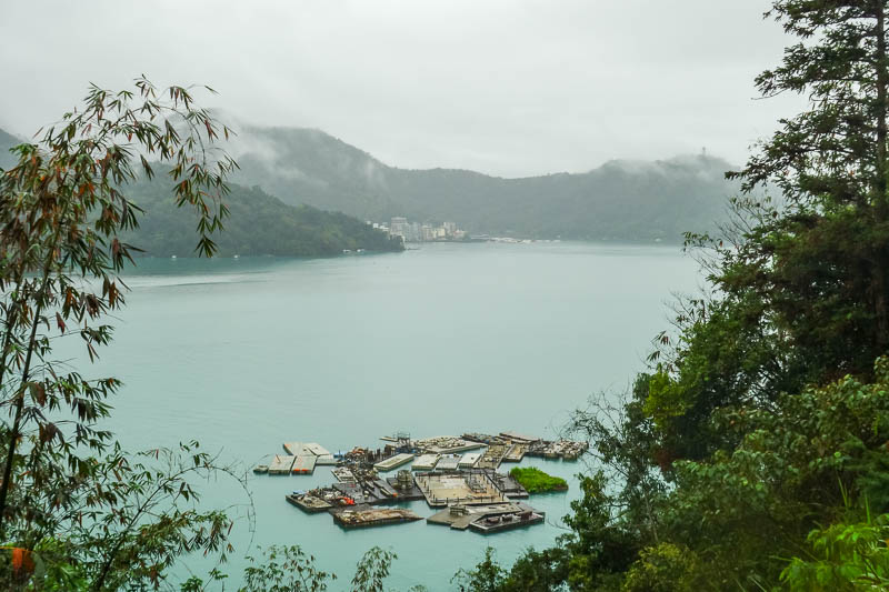 Taiwan-Sun Moon Lake-Rain - Nice photo showing blue water, look how far past the town I have gone already. I was flying around the course.