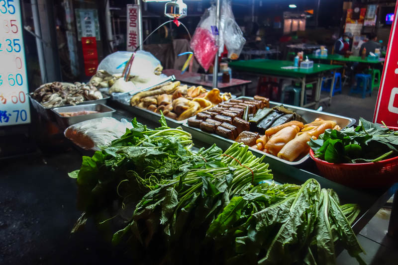 Taiwan-Puli-Food-Vegetarian - Here is the only food stand at the night market, currently unattended. You select what you want and they put it in a pot and boil it for a while. A pi