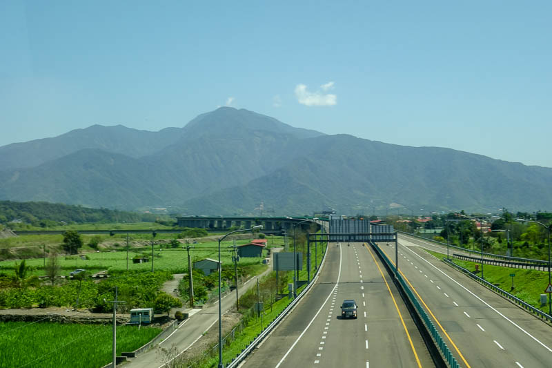 Taiwan-Puli-Taipei-Bullet Train - Todays picture from a moving bus, nice mountains.