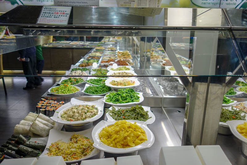 Taiwan-Taipei-Rain-Food-Vegetarian - Instead of pizza I chose the most healthy option available, pay by weight vegetarian buffet. Yes seriously.