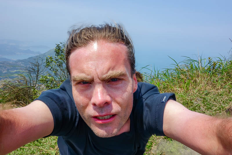 Taiwan-Jiufen-Hiking-Teapot Mountain - Excellent photo of me getting wind blasted.