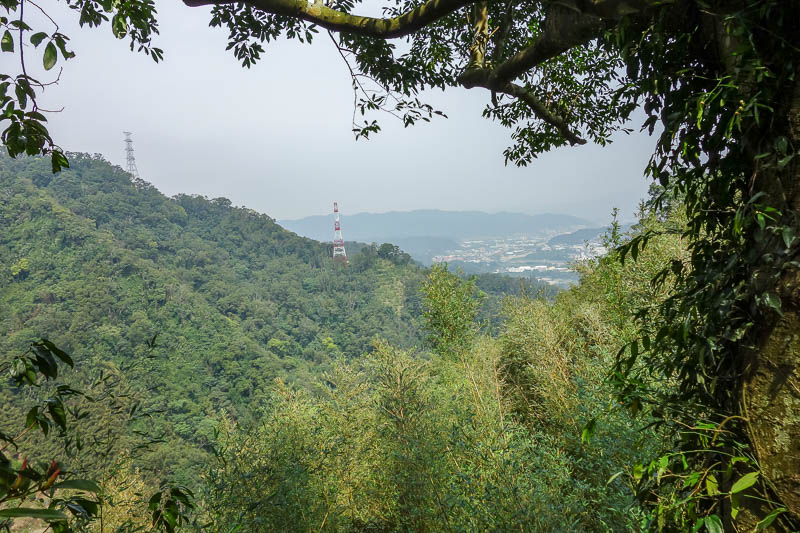 Taiwan-Taipei-Hiking-Wuliaojian - A bit of a view back to Sanxia, and some powerlines.