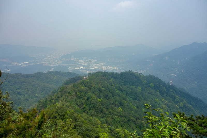 Taiwan-Taipei-Hiking-Wuliaojian - The view from the top, high pollution. It is not a hike about getting to a high altitude, its a hike where you enjoy pulling yourself up and lowering