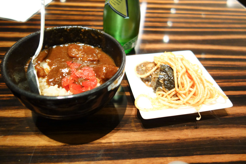 Japan-Tokyo-Narita-Lounge - JAL's signature beef curry, with mushroom rice. I also dished up some noodles and chilli fried eggplant. The curry and eggplant were great, the noodle